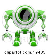 Clipart Illustration Of An Alert Green And White Spybot Standing And Facing Front Watching Out For Trouble by Leo Blanchette