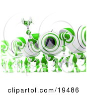 Clipart Illustration Of An Excited Green And White Security Spybot Standing In Line And Waving