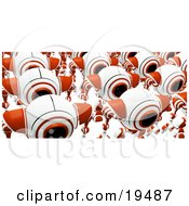 Clipart Illustration Of A Group Of Marching Red And White Security Webcams Just Off The Assembly Line