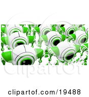 Clipart Illustration Of Rows Of Marching Green And White Webcams Just Off The Assembly Line