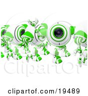 Clipart Illustration Of A Friendly Green And White Spycam Waving While Marching In Line by Leo Blanchette