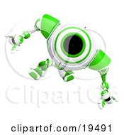 Clipart Illustration Of An Alert Green And White Security Webcam Robot Looking Upwards