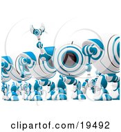 Clipart Illustration Of A Distracted Blue And White Soldier Spycam Standing In Line And Waving