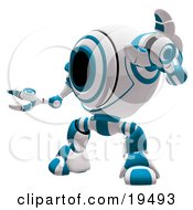 Blue And White Security Webcam Robot Standing In A Defensive Pose Symbolizing Defense Protection And Security