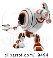 Clipart Illustration Of A Red And White Security Webcam Robot Standing In A Defensive Pose Symbolizing Defense Protection And Security by Leo Blanchette