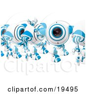 Clipart Illustration Of A Blue And White Spycam Waving And Marching In Line