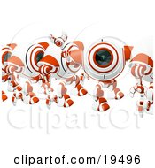 Clipart Illustration Of A Happy Red And White Security Webcam Waving And Marching In Line by Leo Blanchette