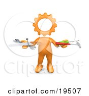 Clipart Illustration Of An Orange Person With A Cog Head Holding Nails Screwdriver Hammer Saw And Wrench While Repairing A Website