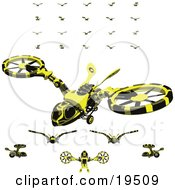 Clipart Illustration Of A Collection Of Wasp Like Hovercraft Vehicles by Leo Blanchette