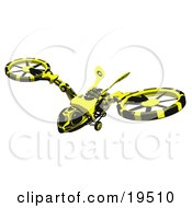 Clipart Illustration Of A Wasp Like Hovercraft Flying Through The Sky