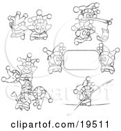 Clipart Illustration Of Small Joker Skwidgets Holding Blank Signs And Banners