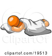 Clipart Illustration Of A Comfortable Orange Man Sleeping On The Floor With A Sheet Over Him
