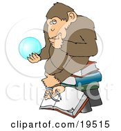 Clipart Illustration Of A Wise Monkey In Thought Rubbing His Chin And Sitting On Top Of A Stack Of Books While Gazing At A Crystal Ball Showing Him Glimpses Of What Is To Come