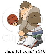 Chimp In Thought Rubbing His Chin Sitting On Top Of A Stack Of Books And Staring At A Basketball