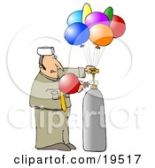 Clipart Illustration Of A Balloon Guy In Uniform Filling Colorful Party Balloons With Helium by Dennis Cox