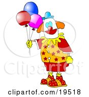 Colorful Party Clown In Red Orange And Yellow Holding Three Balloons