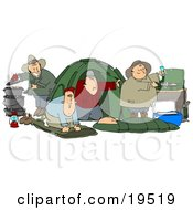 Clipart Illustration Of A Happy Group Of Camping Buddy Guys Cooking And Napping While Enjoying A Wife Free Weekend