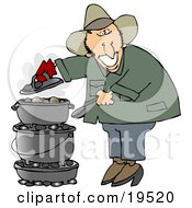 Clipart Illustration Of A Happy White Guy Cooking On A Dutch Oven While Camping Outdoors by djart