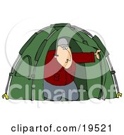 Clipart Illustration Of A White Man Peeking Out From His Green Camping Tent
