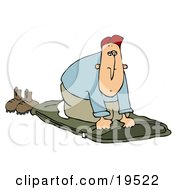 Clipart Illustration Of A Woodsy White Guy Unrolling His Green Sleeping Bad And Preparing To Go To Sleep