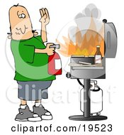 Clipart Illustration Of A Nervous White Man Using A Fire Extinguisher To Put Out Flaming Meat Patties On A Bbq Grill by Dennis Cox