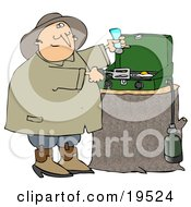 Clipart Illustration Of A Happy Man Sniffing The Aroma Of Eggs While Cooking Breakfast On A Propane Camping Stove