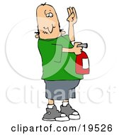Clipart Illustration Of A Nervous White Guy Holding His Hand Up And Using A Red Fire Extinguisher To Put Out A Fire