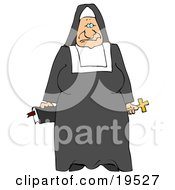 Tired Old Nun In Black And White Holding A Bible And Cross