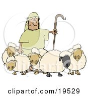 Clipart Illustration Of A Man Holding A Staff And Standing With His Sheep