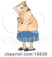 Clipart Illustration Of A White Guy Wrapped In A Towel Spraying Deodorant On His Hairy Armpits After Getting Out Of The Shower by Dennis Cox