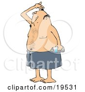 Clipart Illustration Of A White Man Wrapped In A Towel Sniffing His Armpit Before Spraying Deodorant On His Underarms After Getting Out Of The Shower by Dennis Cox