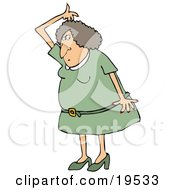 Clipart Illustration Of A Stinky White Woman In A Green Dress And Heels Lifting Her Arm Up Over Her Head And Sniffing Her Armpit For Odor by Dennis Cox
