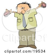 Clipart Illustration Of A White Man In Green Holding Up His Two Sets Of Dentures by djart