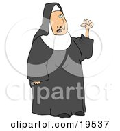 Clipart Illustration Of A Frustrated Nun In Black And White Waving Her Fist In The Air While Arguing