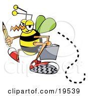 Clipart Illustration Of A Busy Bee Carrying A Pencil And Briefcase While Flying To Work
