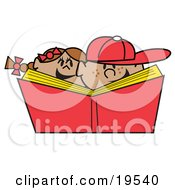 Clipart Illustration Of A Happy Brother And Sister With Freckles Laughing While Reading A Library Book Together by Andy Nortnik