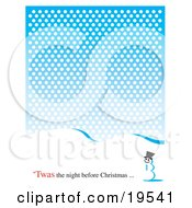 Clipart Illustration Of A Snowman In The Snow On A Winter Day With Text Reading Twas The Night Before Christmas