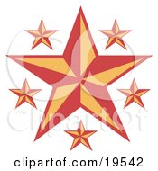 Clipart Illustration Of A Large Nautical Star With Smaller Ones In Red And Yellow
