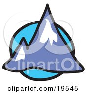 Clipart Illustration Of Two Pointy Mountain Peaks Over A Blue Circle Background