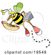 Clipart Illustration Of A Business Bee Carrying A Briefcase And A Hotdog With Mustard And Relish by Andy Nortnik