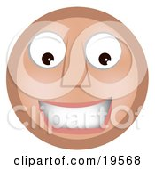 Clipart Illustration Of A Friendly Smiling Tan Smiley Face