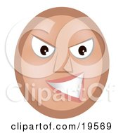 Clipart Illustration Of A Meany Emoticon Face Grinning At A Victim Of Bullying