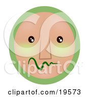 Clipart Illustration Of A Very Shy Green And Tan Smiley Face Worrying