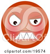 Clipart Illustration Of A Furious Red Emoticon Face Baring Its Teeth