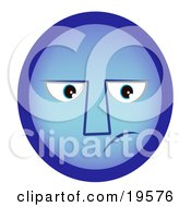 Clipart Illustration Of A Sad Blue Smiley Face With The Blues