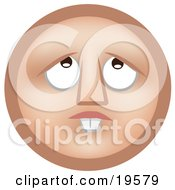 Clipart Illustration Of A Hopeful Tan Smiley Face With Buck Teeth Looking Upwards And Praying To God For Money To Fix His Teeth