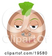 Clipart Illustration Of A Cool Punk Tan Smiley Face Sporting A Green Mohawk And A Safety Pin Nose Piercing