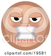 Clipart Illustration Of A Mean Tan Smiley Face Woman Gritting Her Teeth In Anger