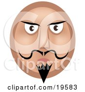 Clipart Illustration Of A Stern Emoticon Face Man With A Goatee Mustache And Dark Eyebrows