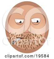 Clipart Illustration Of An Emoticon Face Guy With Stubble And Bloodshot Eyes Smoking A Doobie by AtStockIllustration